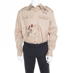 0ab3a17a90a7e Burberry Sand Brown Sketch Printed Cotton Batson Army Shirt XXL
