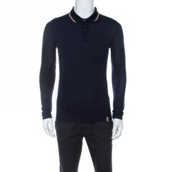 Burberry London Navy Blue Pique Knit Cotton Long Sleeve Polo T-Shirt S