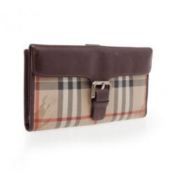 Burberry Haymarket Leather Flap Wallet