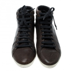 Burberry Brown Leather High Top Sneakers Size 40