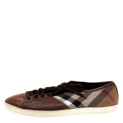 Burberry Brown House Check Fabric and Leather Sneakers Size 44