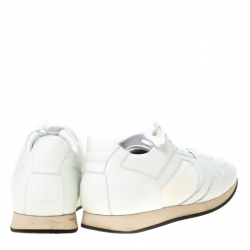 Burberry White Leather and Mesh Fields Sneakers Size 40