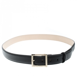 Bvlgari Black Leather Belt 110cm
