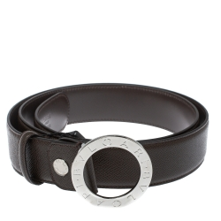 Bvlgari Chocolate Brown Leather Bvlgari Bvlgari Belt 110CM
