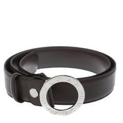 Bvlgari Chocolate Brown Leather Bvlgari Bvlgari Belt 110CM