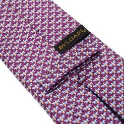 Bvlgari Purple Dragonfly Print Sevenfold Silk Tie