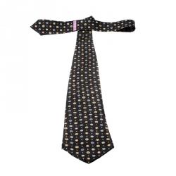 Bvlgari X Davide Pizzigoni Dark Grey Printed Silk Seven Fold Tie