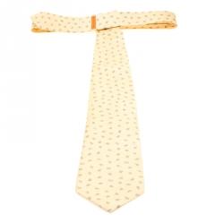 Bvlgari X Davide Pizzigoni Yellow Printed Silk Seven Fold Tie