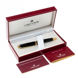 Caran d'Ache Leman Black Lacquer Gold Plated Ballpoint Pen