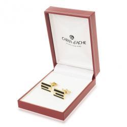 Caran D'Ache Black Enameled Gold Plated Cufflinks