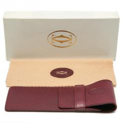 Cartier Maroon Vintage Pen Case Leather
