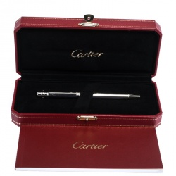 Cartier Santos De Cartier Godron Silver Tone Ballpoint Pen