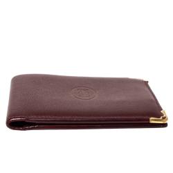 Cartier Burgundy Leather Must De Cartier 6CC Bifold Wallet