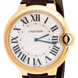 Cartier Silver 18k Rose Gold Ballon Bleu 3376 Men's Wristwatch 46MM