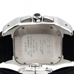 Cartier Silver Stainless Steel Santos 100 2740 Chronograph Men's Wristwatch 41 mm