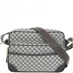 Celine Black/Gray Macadam Canvas and Leather Vintage Messenger Bag