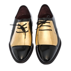Celine Black Patent Leather Gold Metal Plate Lace Up Oxfords Size 40