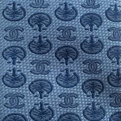Chanel Blue CC and Palm Tree Pattern Jacquard Silk Tie