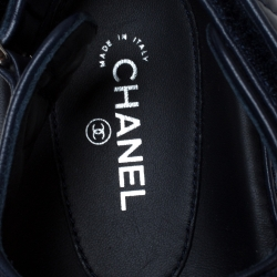 Chanel Navy Blue Quilted Leather CC Dad Sandals Size 41
