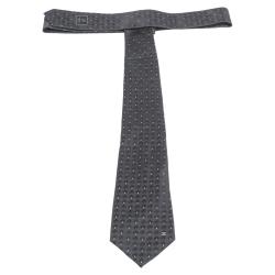 Chanel Black Dot Pattern Checked Silk Tie