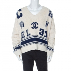 Chanel Cream & Blue Cotton-Silk Blend Knitted Boucle Finish Varsity Sweater M