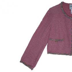 Chanel Rose Tweed Jacket L