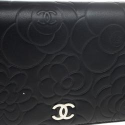 Chanel Black Leather Camelia Zip Wallet