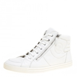 694201583 Chanel White Leather CC High Top Sneakers Size 45
