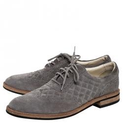 حذاء أكسفورد شانيل بروغي مبطن سويدي رمادي مقاس 43