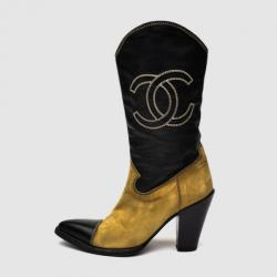 Chanel Beige & Black Mid Calf Boots Size 37.5