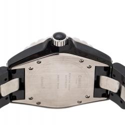 Chanel Black Ceramic Stainless Steel Diamonds J12 Women's Wristwatch 39 mm