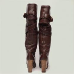 Chloe Brown Leather Knee Length Boots Size 38.5