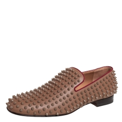 Christian Louboutin Brown Studded Rollerboy Spike Smoking Slippers Size 42