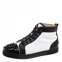 7a000066d1ec Christian Louboutin Monochrome Leather Lou Crystal Embellished Spikes  Orlato Sneakers Size 42.5