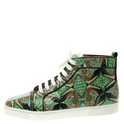 Christian Louboutin Multicolor Hand Painted Python Leather Inferno High Top Sneakers Size 42.5