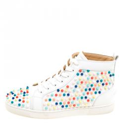 844a9d30d935 Christian Louboutin White Leather Louis Multicolor Spike High Top Sneakers  Size 42