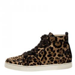 fece95108e42 Christian Louboutin Beige Leopard Calfhair Rantus Orlato High Top Sneakers  Size 45