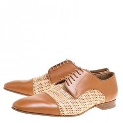 Christian Louboutin Brown Leather and Woven Straw Daviol Derby Size 43.5