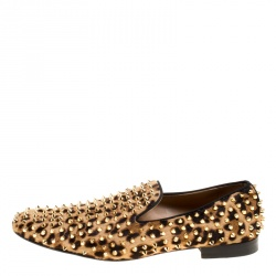 241496cc332 Christian Louboutin Beige Leopard Print Pony Hair Roller Boy Spiked Loafers  Size 45