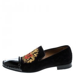 955312e1b44f Christian Louboutin Black Suede and Patent Leather Loubi Forever Spike  Loafers Size 40