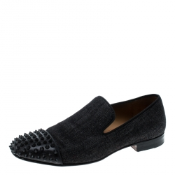 separation shoes fd5ce 19290 Christian Louboutin Black Denim Spike Loafers Size 40