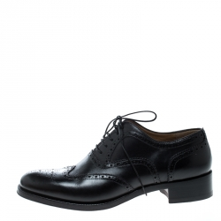 Christian Louboutin Black Brogue Leather Education Oxfords Size 40