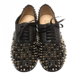 Christian Louboutin Black Leather Donna Spike Lace Up Oxfords Size 41
