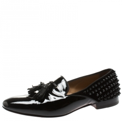 best service fac4d 6d24b Christian Louboutin Black Patent Leather Tassel Detail Spike...