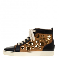010b36bf2d70 Christian Louboutin Black Leather And Brown Suede Mika On Stage High Top  Sneakers Size 40.5