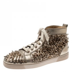 ad01eefa11f9 Christian Louboutin Metallic Gold Leather Louis Spikes Lace Up High Top  Sneakers Size 41