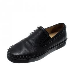 online store d0811 f0c47 Christian Louboutin Black Leather Spike Pik Boat Slip On Sne...