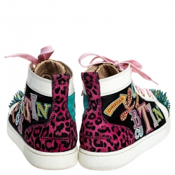 Christian Louboutin Multicolor Leopard Print/Logo Suede and Patent Leather Lou Spikes Sneakers Size 41