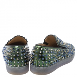 Christian Louboutin Blue/Green Patent Leather Dandelion Spikes Loafers Size 41