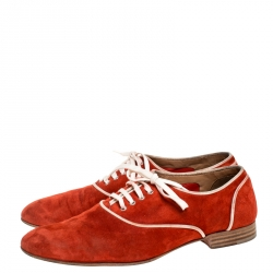 Christian Louboutin Red Suede Lace Up Oxford Size Size 40.5